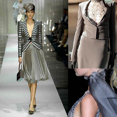 visoka moda - kolaži, siva barva