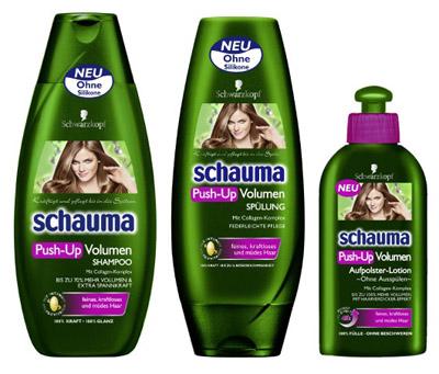 Šamponi Schauma_push_up_volumen_linija_izdelkov