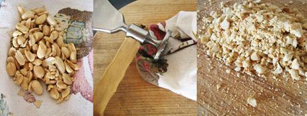 Polnozrnati pirini rezanci s piščancem, tofujem in arašidi